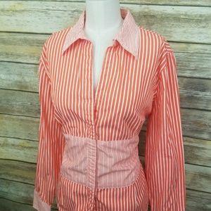 Tommy Hilfiger Orange White Button Down Shirt XL